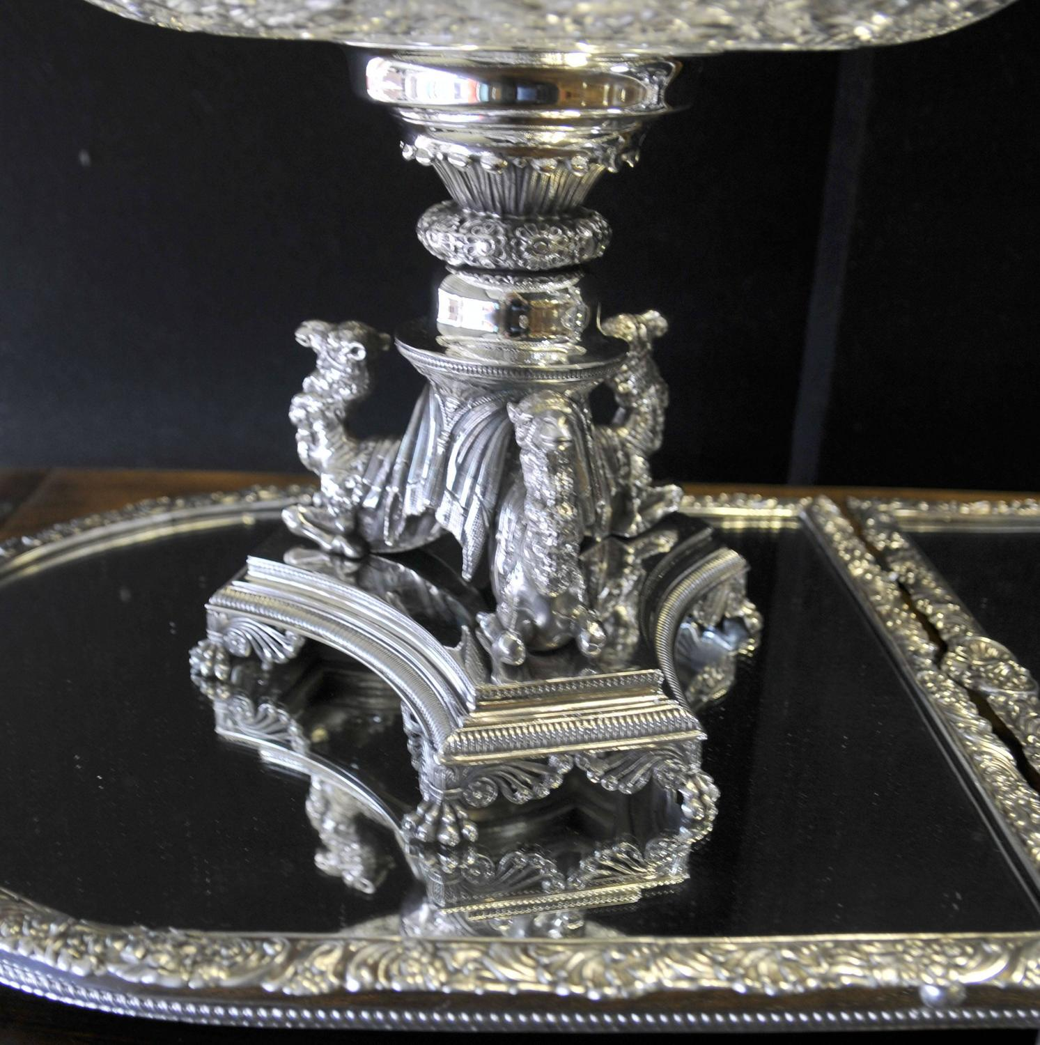 Large victorian silver plate centerpiece epergne cut glass