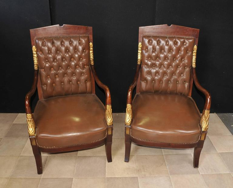 French Empire Style Sofa Armchair Suite Leather For Sale
