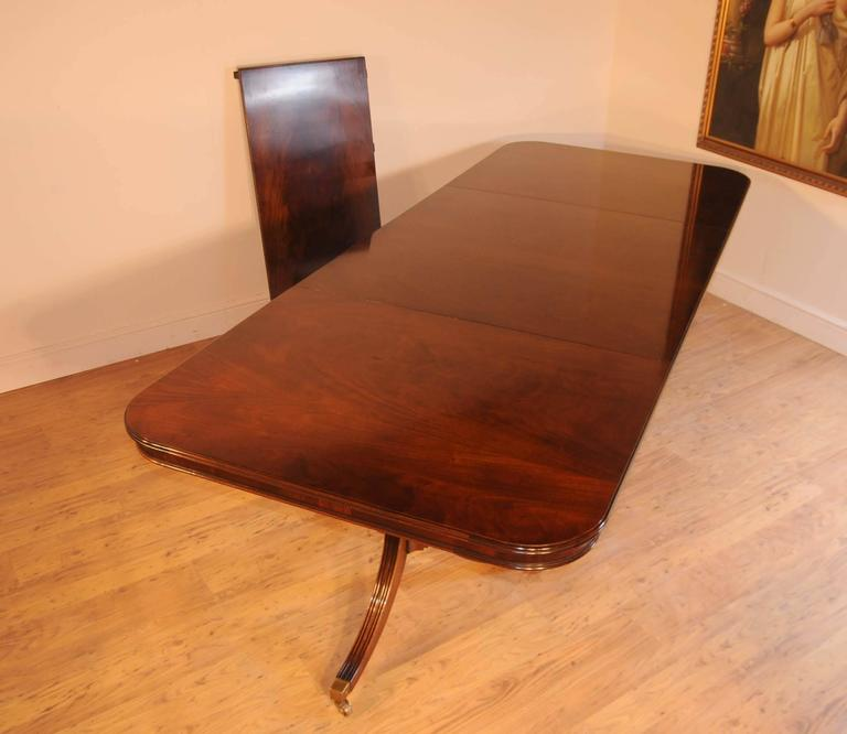 Mahogany regency style pedestal dining table diner for Extra long dining room tables sale