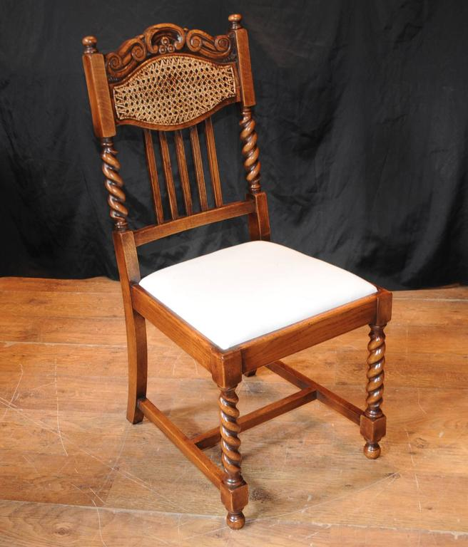 Set Of Eight Barley Twist Dining Chairs Kitchen Farmhouse