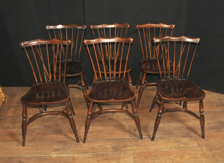Set Of Eight Antique Oak Windsor Chairs 1920 Kitchen