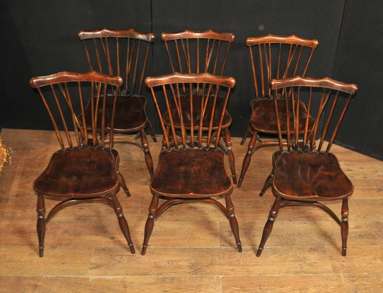 Set of eight antique oak windsor chairs kitchen