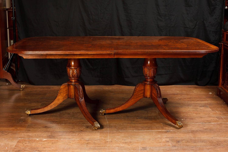 Regency Pedestal Dining Table Walnut Extending Tables For