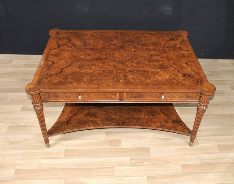 Burr Walnut Regency Style Coffee Table Cocktail Tables
