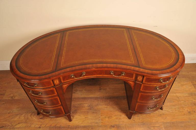 Regency Style Mahogany Kidney Desk Furniture For Sale at