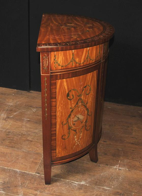 Sheraton Style Painted Demilune Cabinet Regency Satinwood