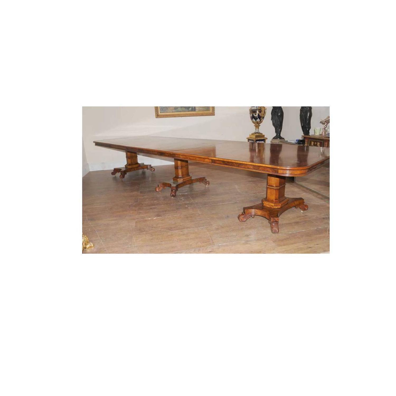 Walnut Regency Style Extending Dining Table Diner For Sale