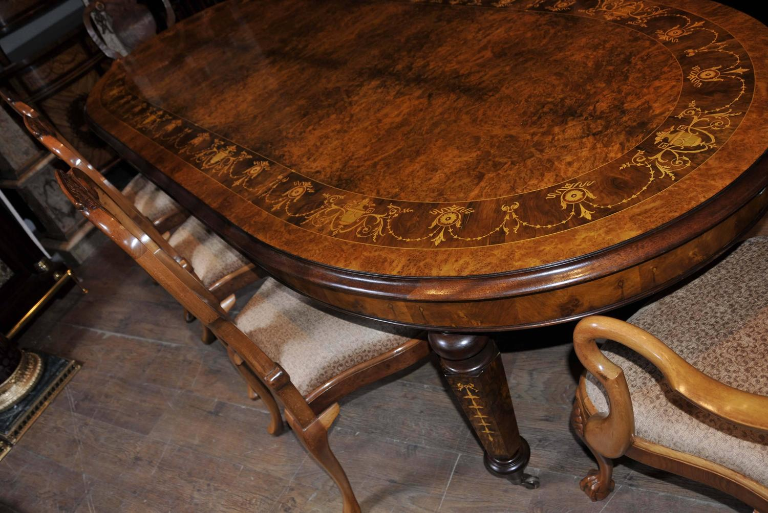 Walnut Dining Set Queen Anne Chairs And Victorian Table For Sale At 1stdibs