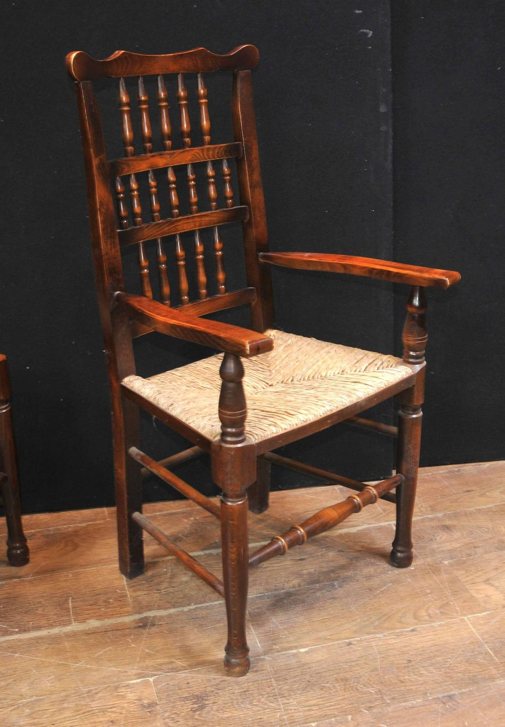 Oak Spindle Dining Chairs ~ Set of eight oak spindle back dining chairs kitchen