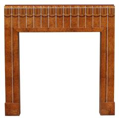 Art Deco Burr Walnut and Inlayed Marquetry Fire Surround