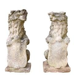 Pair of 19th Century English Limestone Armorial Lions