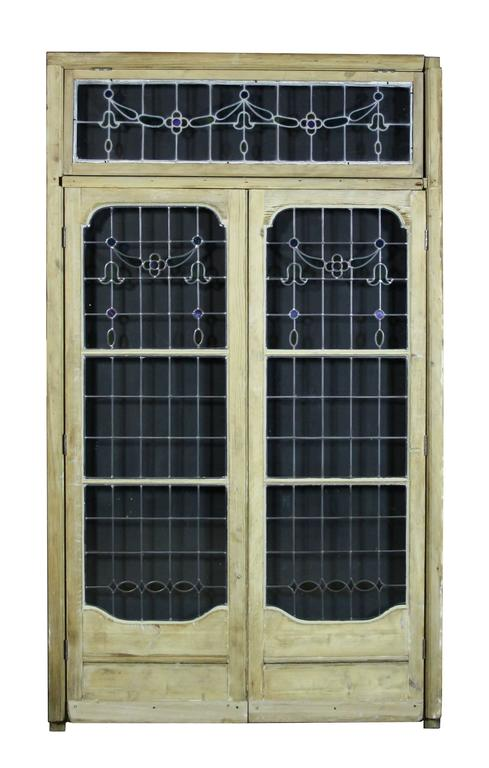 Pair of Antique Leaded Glass French Double Doors with Frame 2