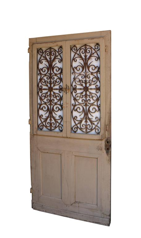 Late Victorian Antique French Oak Front Door with Cast Iron Grills For Sale - Antique French Oak Front Door With Cast Iron Grills At 1stdibs