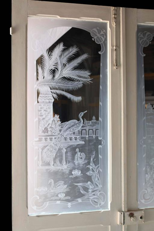 Late Victorian Pair of Antique French Etched Glass Doors For Sale - Pair Of Antique French Etched Glass Doors At 1stdibs