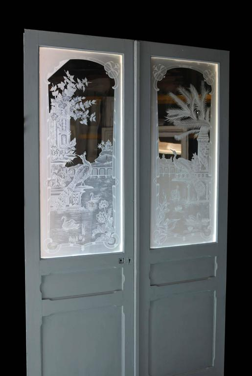 Pair Of Antique French Etched Glass Doors At 1stdibs