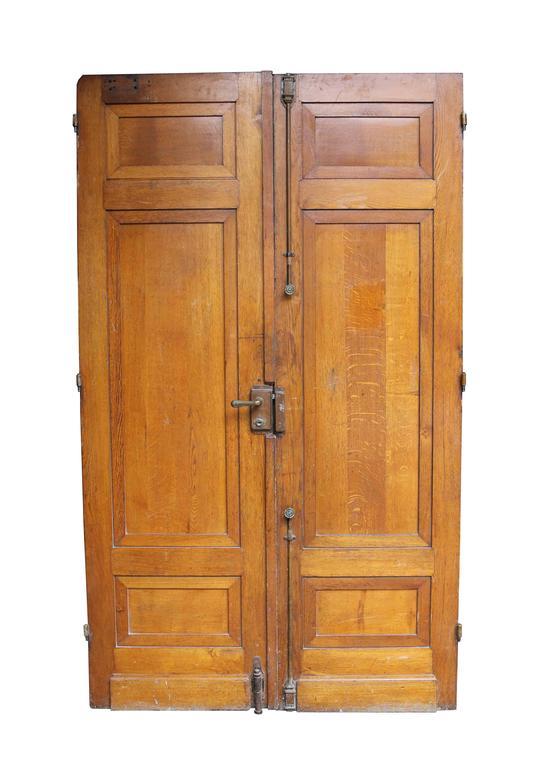 Louis XVI Pair of Antique Exterior Oak Double Doors