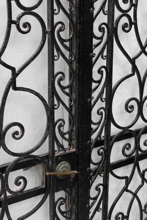 Art Deco Pair of 1920s Wrought Iron Pedestrian Gates For Sale