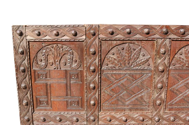 Hand-Carved Large English Antique Carved Oak Panel For Sale