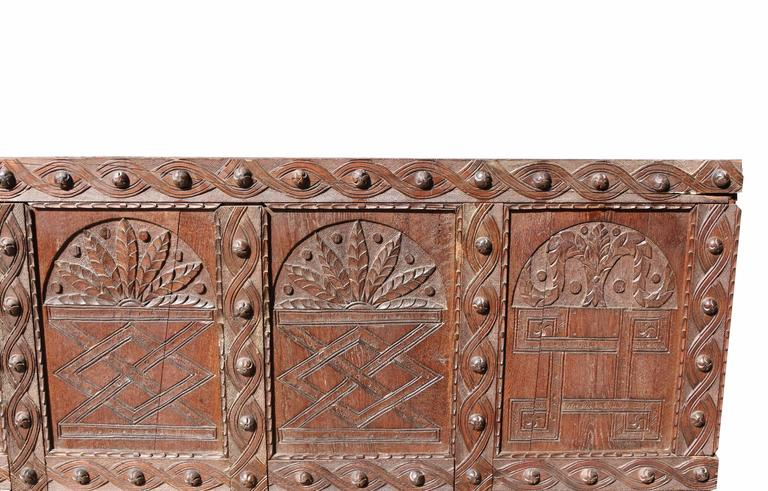 Large English Antique Carved Oak Panel In Fair Condition For Sale In Wormelow, Herefordshire