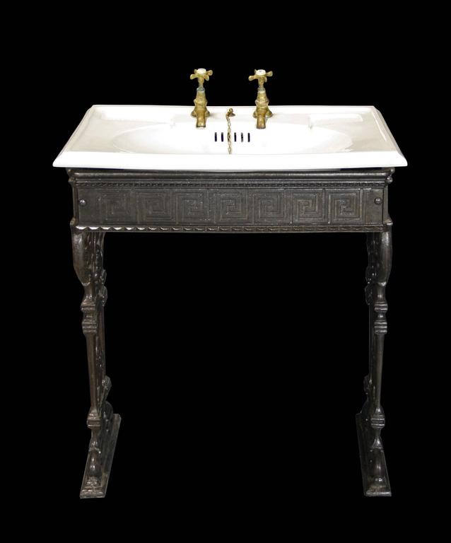 Porcelain Basin With Original Brass Taps On A Stripped And Lacquered Cast