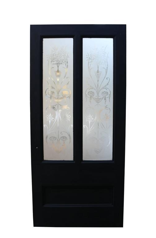 Antique Pine Door with Original Etched Glass 2