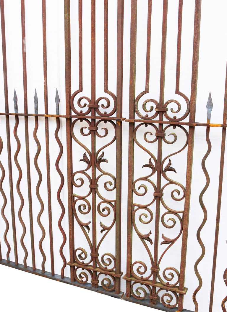 Victorian Pair of Grand Wrought Iron Driveway Gates For Sale