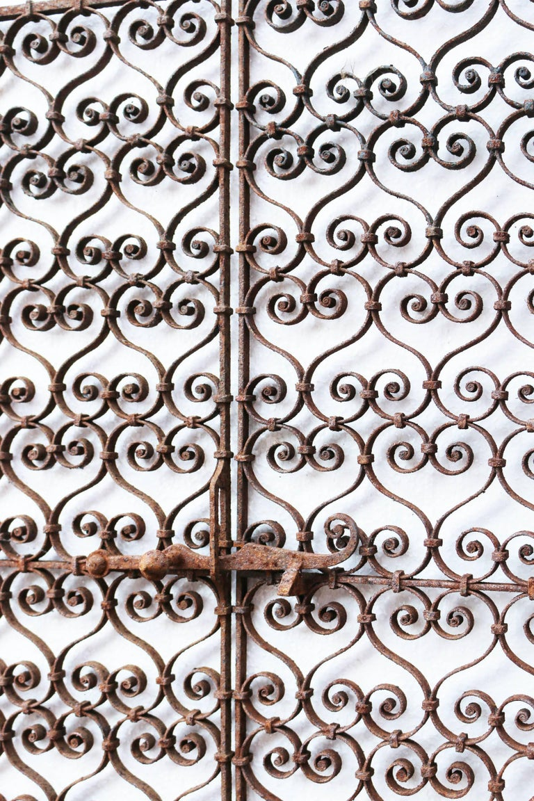 Pair of 19th century, wrought iron ornate window grills. Measures: Weight 5 kg