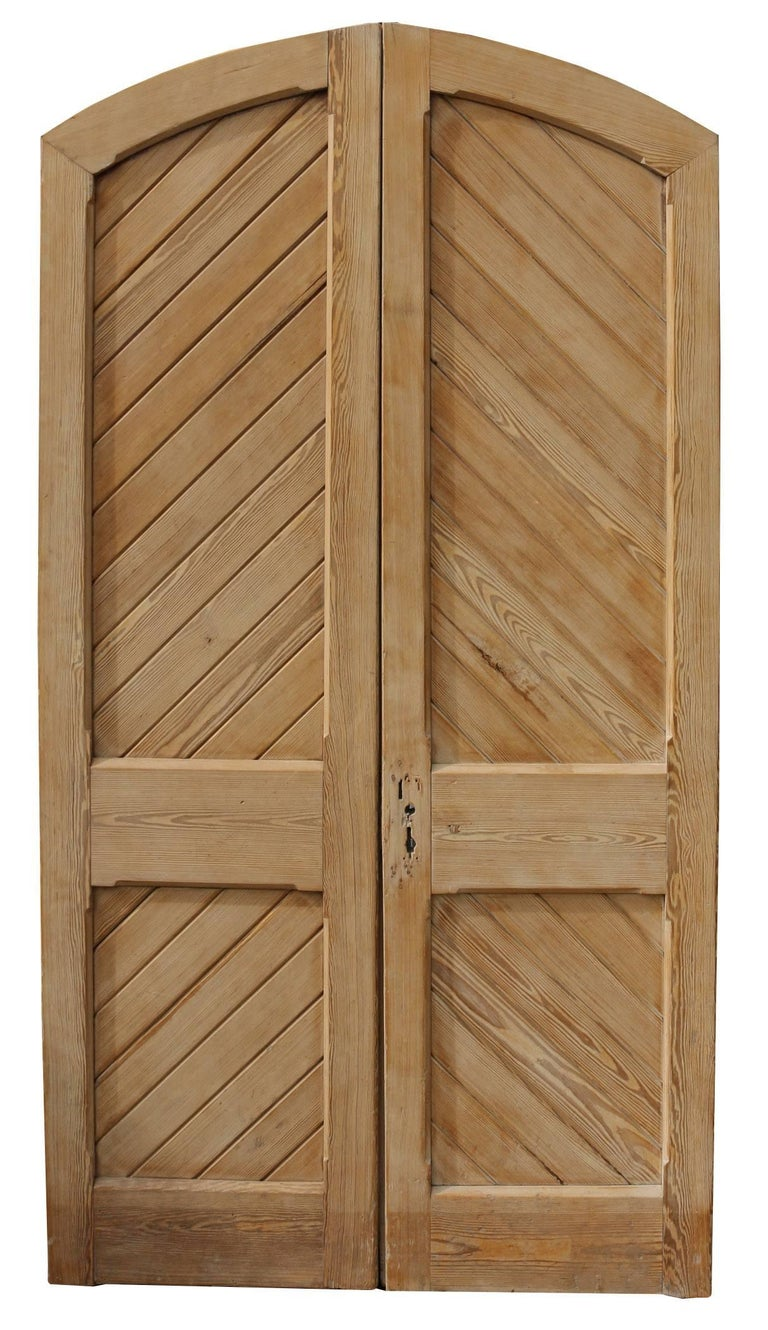 Pair Of Antique Stripped Pine Exterior Arched Double Doors At 1stdibs