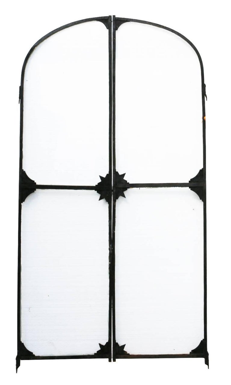 Pair of French Wrought Iron Arched Gates, circa 1900 For