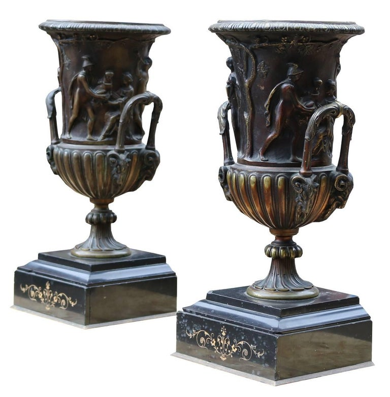 Pair of Late 19th Century Decorative French Bronze Urns In Fair Condition For Sale In Wormelow, Herefordshire