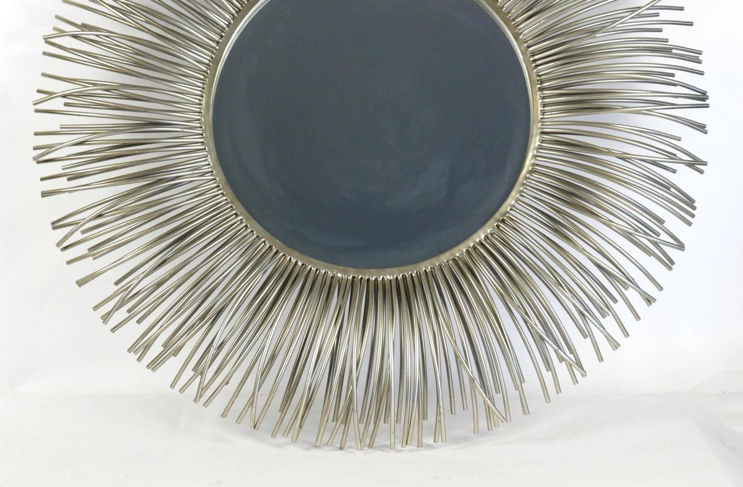 Pair of large round curved rods mirrors for sale at 1stdibs for Large round mirrors for sale