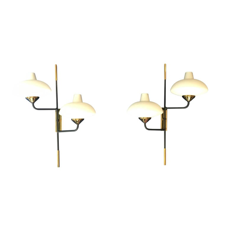 Maison Arlus 1950s Pair of Brass and Metal Sconces with Opaline Glass