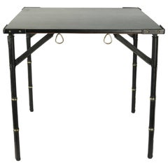 Jacques Adnet 1950s Black Leather Folding Game Table