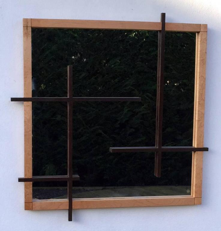 Modernist style mirror in solid birch and wenge at 1stdibs for Miroir wenge