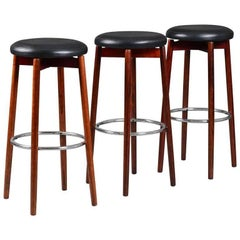 Set of Three Mid-Century Danish Solid Rosewood Bar Stools