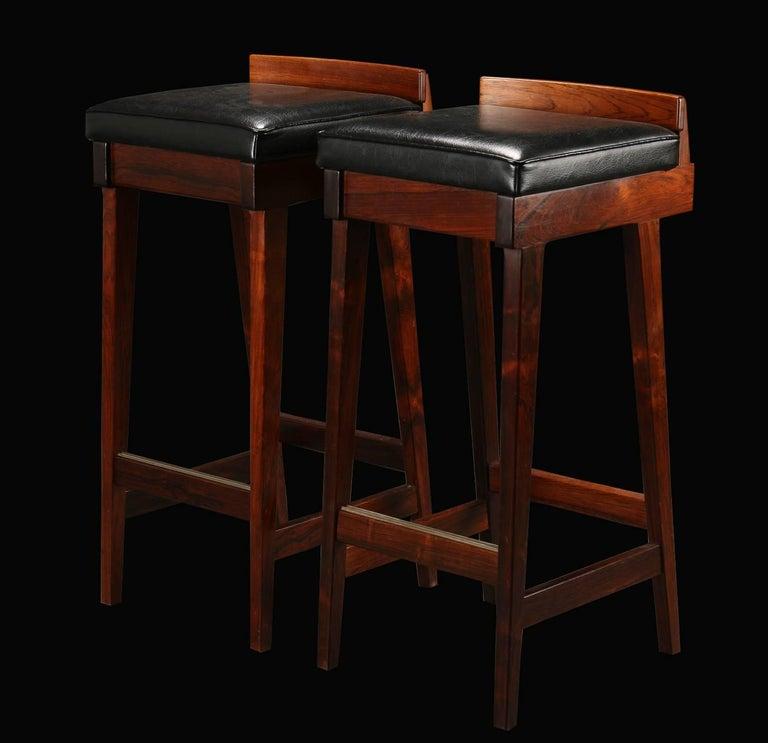Pair Of Midcentury Danish Rosewood Bar Stools By Erik Buck