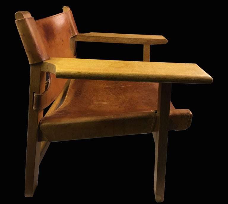 Mid-Century Modern 'Spanish Chair' in Cognac Leather by Borge Mogensen for Fredericia For Sale