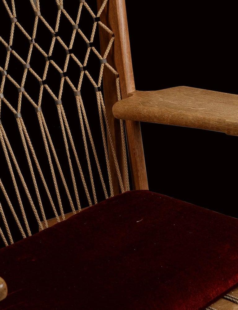 Scandinavian Modern Very Rare Hans Wegner Oak Flag Halyard Chair JH719 for Johannes Hansen For Sale