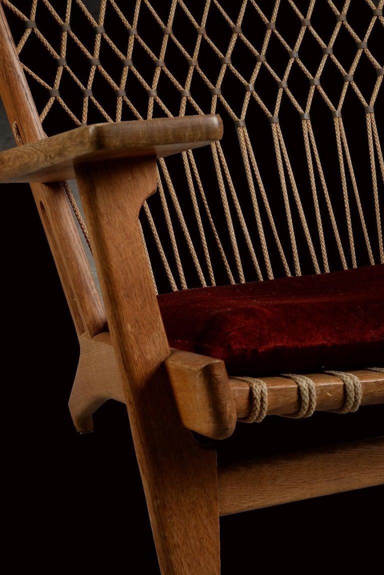 Danish Very Rare Hans Wegner Oak Flag Halyard Chair JH719 for Johannes Hansen For Sale