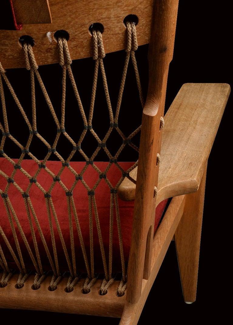 Very Rare Hans Wegner Oak Flag Halyard Chair JH719 for Johannes Hansen In Good Condition For Sale In Little Burstead, Essex