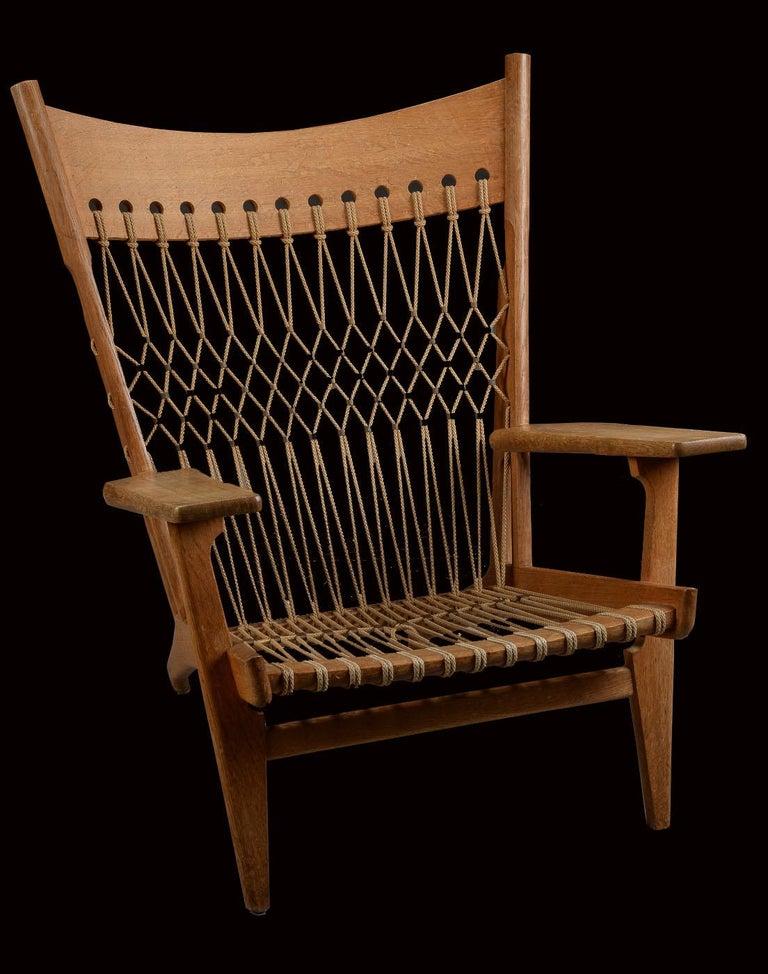 Very Rare Hans Wegner Oak Flag Halyard Chair JH719 for Johannes Hansen For Sale 1