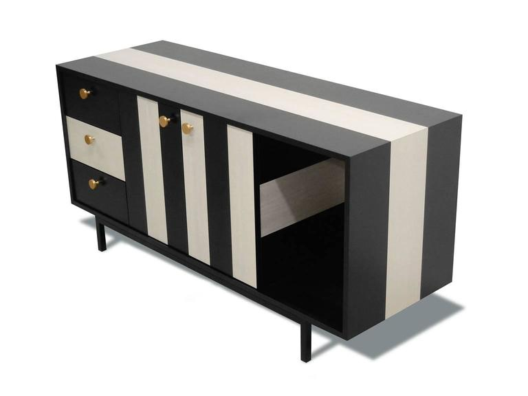 The No Wave credenza from Atocha Design is a statement-making piece with a bold, monochromatic pattern. The second launch in the No Wave Series, this credenza is an extension of the Kick Back cocktail table aesthetic, for elegant yet ample general