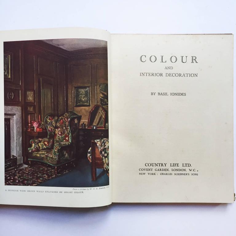 Art Deco Color and Interior Decoration Basil Ionides 'Claridges Interior Decorator', 1926