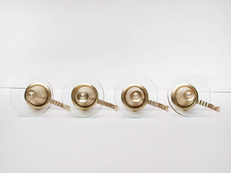 Merveilleux A Set Of Four Cone Shaped Italian Brass And Glass Wall Mounted Coat Hooks  Designed