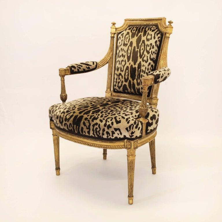 French Stunning Pair of Louis XVI Chairs Attributed to Jean-Baptiste Claude Sene, 1780 For Sale