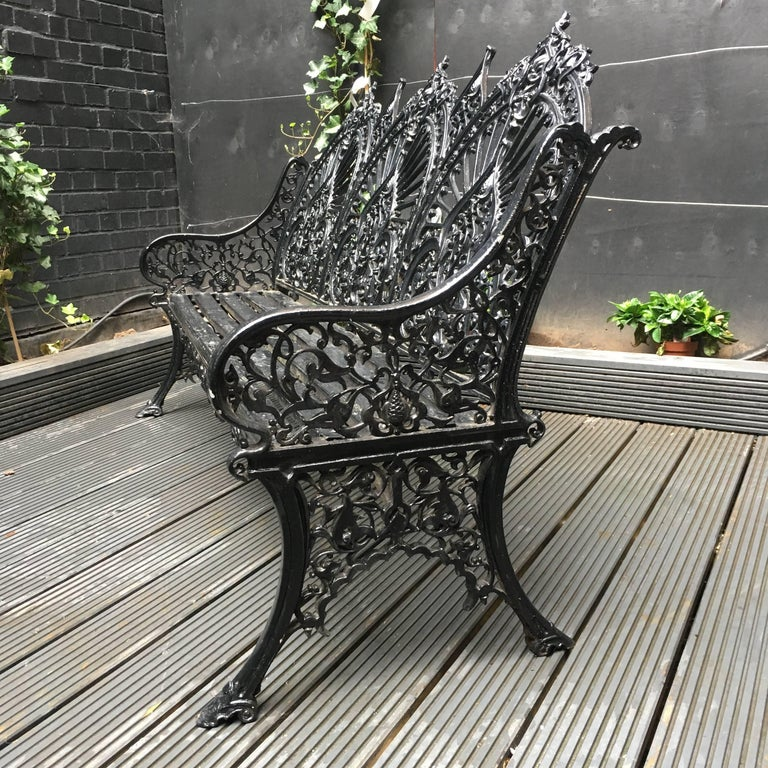 Victorian Original Coalbrookdale Cast Iron Garden Bench, 1853 For Sale