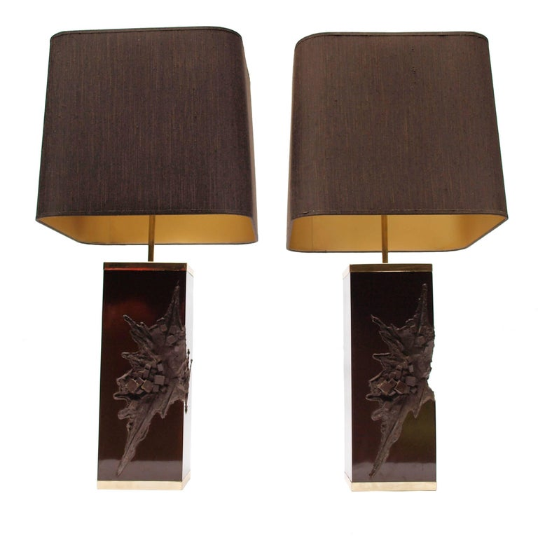Mid-Century Modern Pair of Large Philippe Cheverny Cast Resin Lamps with Shades, 1970s For Sale