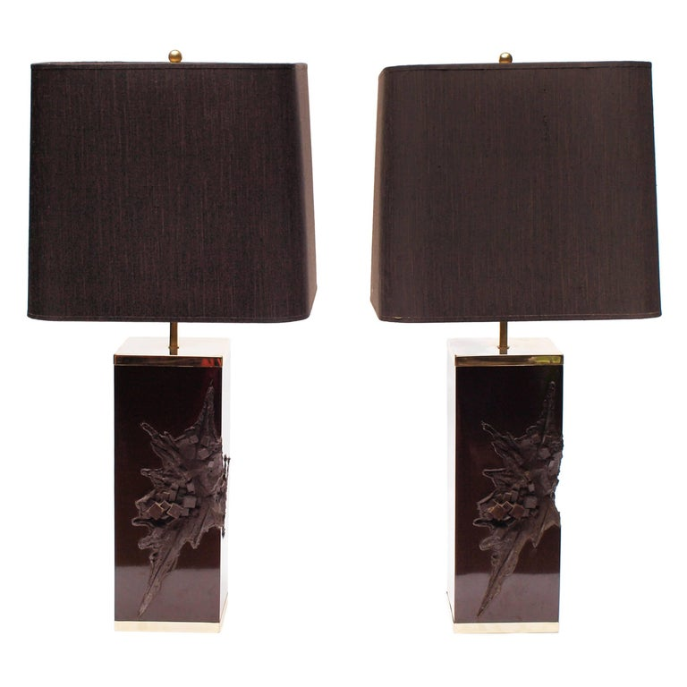 Pair of Large Philippe Cheverny Cast Resin Lamps with Shades, 1970s In Good Condition For Sale In London, GB