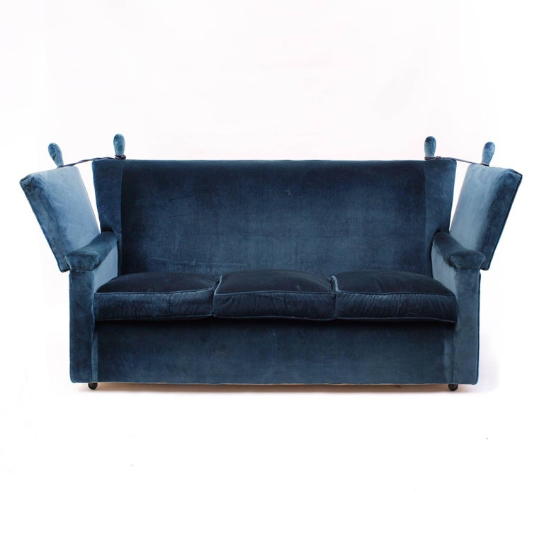 A Beautifully Shaped Knole Sofa Dating From The 1930s Upholstered In Dark Blue Velvet