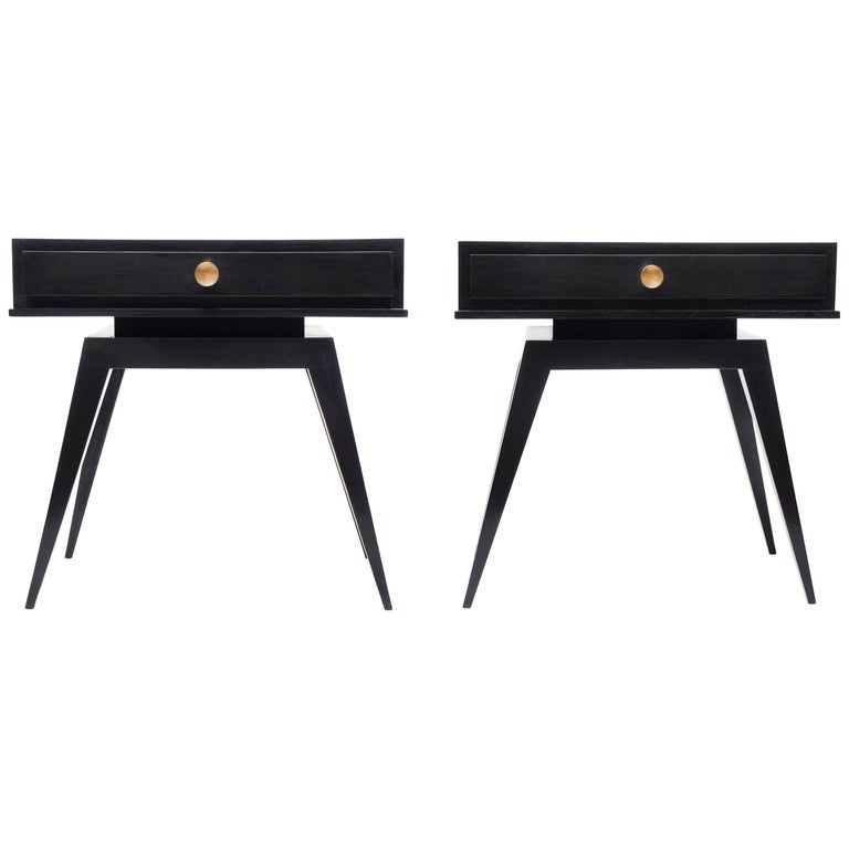 Pair of Black 1940s French Nightstands